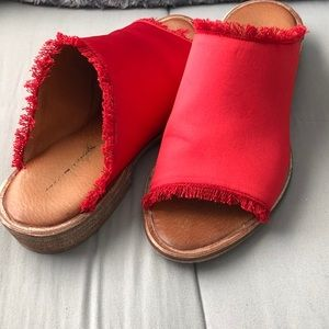 Free People red satin 'Riley' slip on sandals